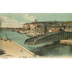 carte postale ancienne 76 DIEPPE. Grand Pont Tournant du Pollet ouvert 1913