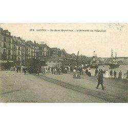 carte postale ancienne 76 DIEPPE. Gare Maritime et Paquebot
