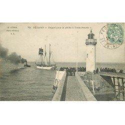 carte postale ancienne 76 FECAMP. Départ pour la Pêche à Terre-Neuve 1907