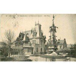 carte postale ancienne 76 FECAMP. Puits et Square 1912