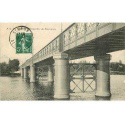carte postale ancienne 76 ELBEUF. Le Pont de Fer 1908