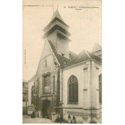 carte postale ancienne 76 ELBEUF. Eglise Saint-Etienne Portail 1923