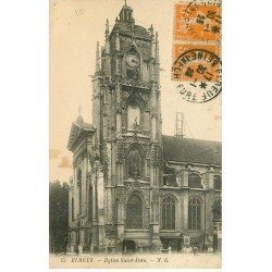 carte postale ancienne 76 ELBEUF. Eglise Saint-Jean 1923