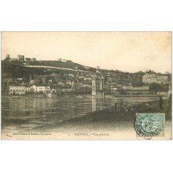 carte postale ancienne 01 TREVOUX. Vue générale 1905 avec Berger et moutons