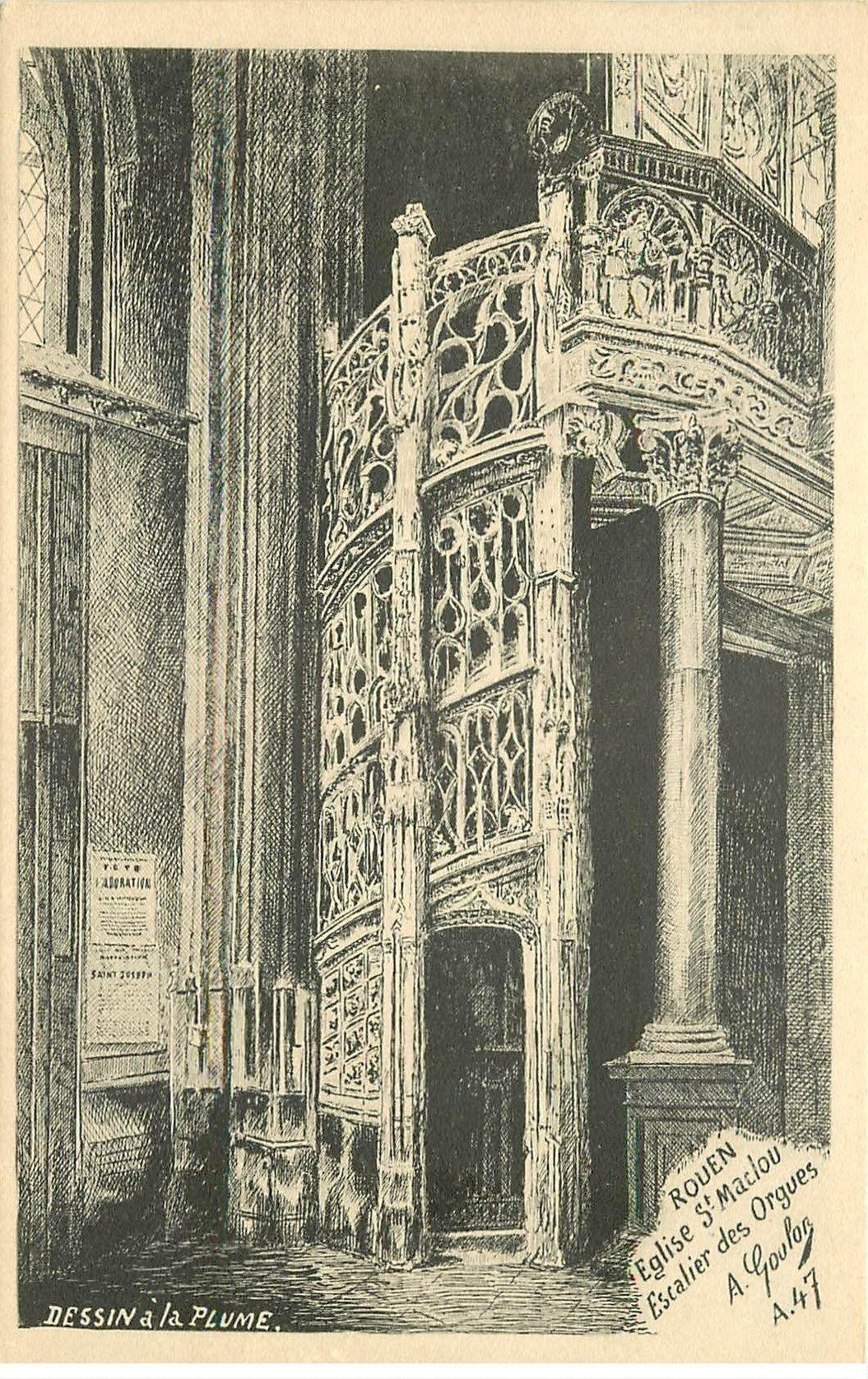 76 rouen d 39 apr s dessin la plume eglise saint maclou escalier des orgues. Black Bedroom Furniture Sets. Home Design Ideas