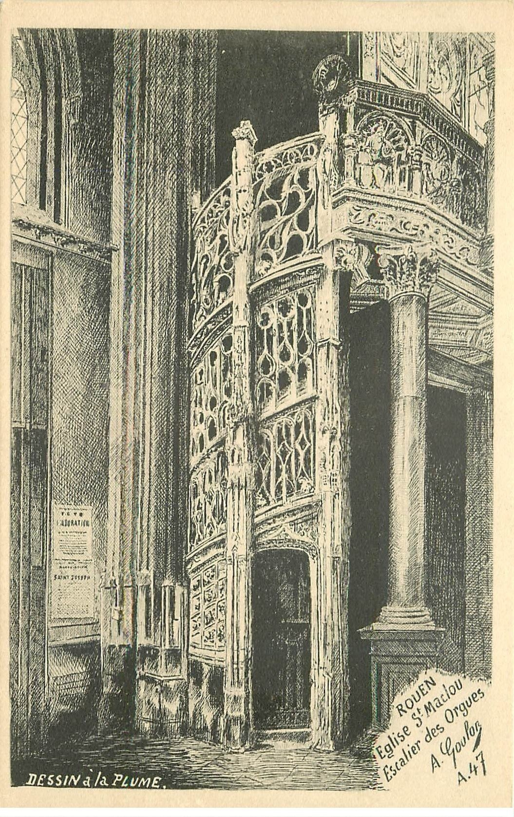 76 rouen d 39 apr s dessin la plume eglise saint maclou escalier des orgues. Black Bedroom Furniture Sets. Home Design Ideas