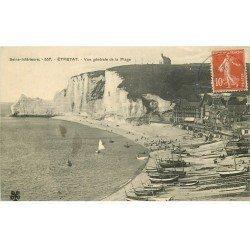 carte postale ancienne 76 ETRETAT. La Plage 1908