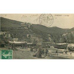 carte postale ancienne 76 ETRETAT. Le Golf avec Pêcheurs préparant leur barils pour les grandes Pêches 1908
