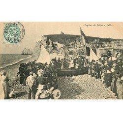 carte postale ancienne 76 ETRETAT. Baptême du Bateau Stella 1906
