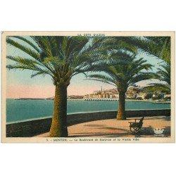 carte postale ancienne 06 MENTON. Boulevard de Garavan et vieille Ville 1949