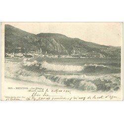 carte postale ancienne 06 MENTON. La Plage 1902
