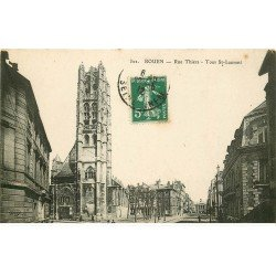 carte postale ancienne 76 ROUEN. Promotion : Tour Saint-Laurent Rue Thiers 1912