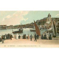 carte postale ancienne 76 LE TREPORT. Bateau Dieppe au Port 1908