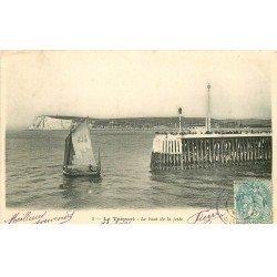 carte postale ancienne 76 LE TREPORT. Bout de Jetée 1905
