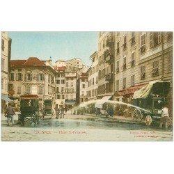 carte postale ancienne 06 NICE. Arroseur de Rues Place Saint-François. Bourse du Travail