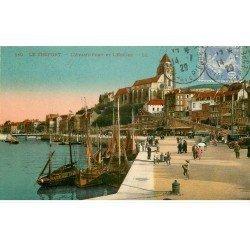 carte postale ancienne 76 LE TREPORT. Avant-Port et Eglise 1929