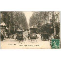 carte postale ancienne 06 NICE. Avenue de la Gare. Tacot et Tramway 1916
