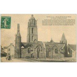 carte postale ancienne 44 BOURG-DE-BATZ. Notre-Dame du Murier et Clocher Saint-Guénolé 1913