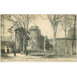 carte postale ancienne 44 CHATEAUBRIANT. Château Châtelet entrée et Courtine 1908