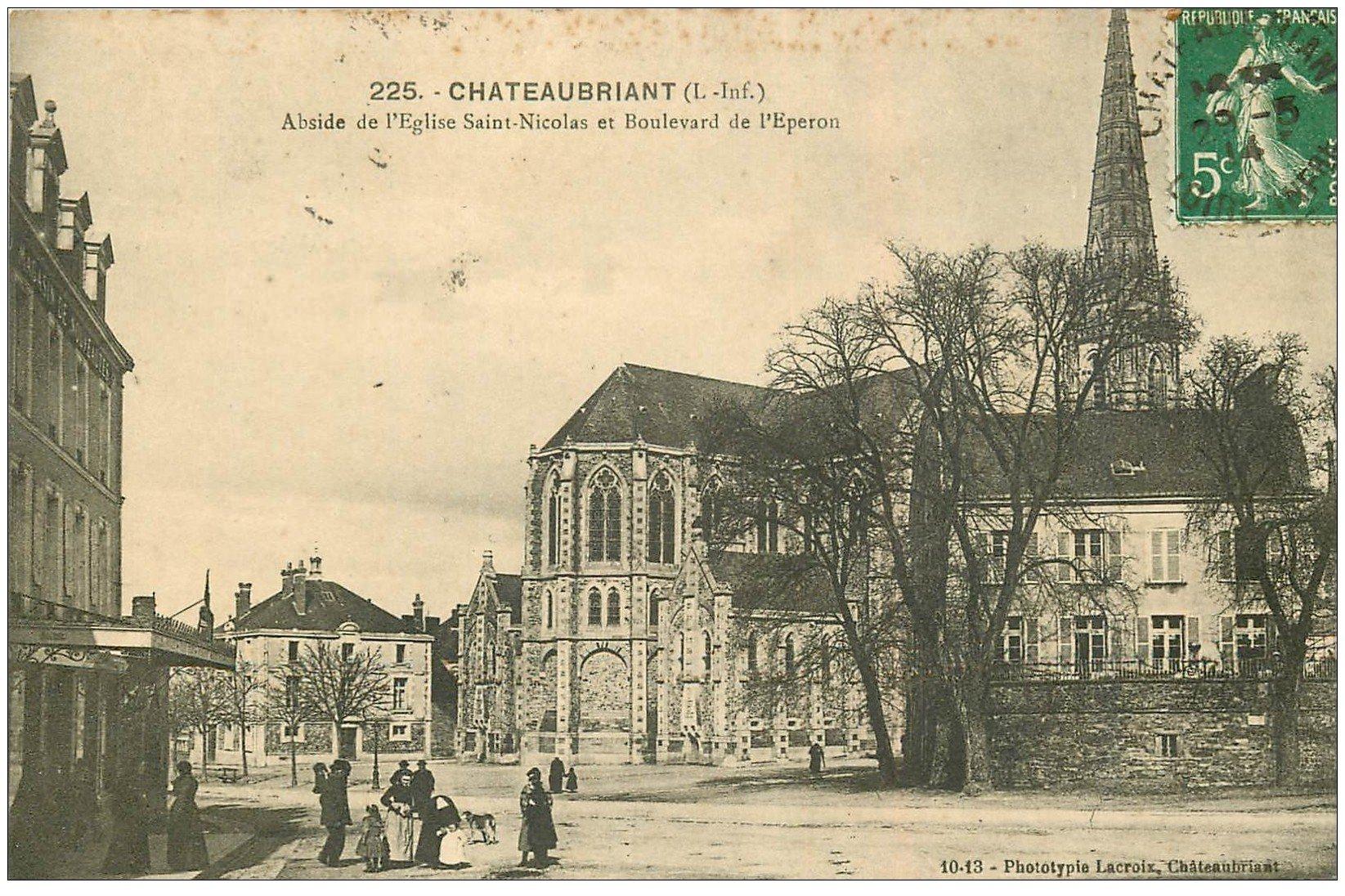 carte postale ancienne 44 CHATEAUBRIANT. Eglise Boulevard de l'Eperon 1914