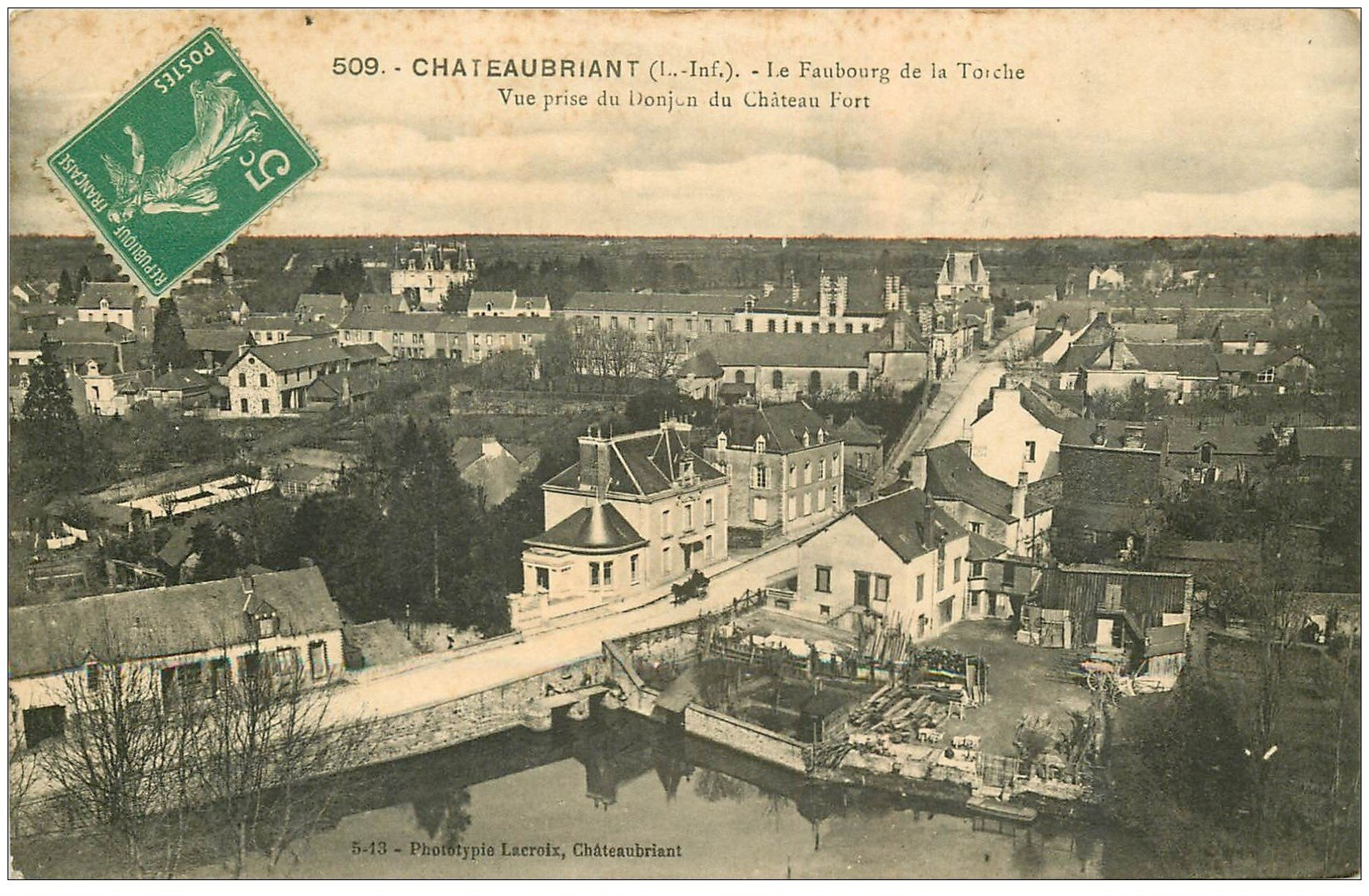 carte postale ancienne 44 CHATEAUBRIANT. Faubourg de la Torche