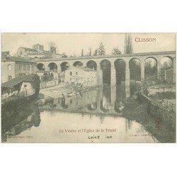 carte postale ancienne 44 CLISSON. Viaduc et Eglise. Lavandières