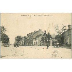 carte postale ancienne 44 COUFFE. Place Eglise et Grande Rue 1910 Tailleur Chapelier