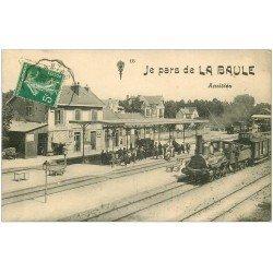 carte postale ancienne 44 LA BAULE. La Gare avec Train et Locomotive à vapeur 1913