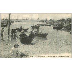 carte postale ancienne 44 LE CROISIC. Barques de Pêche Plage Port-Lin