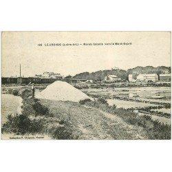 carte postale ancienne 44 LE CROISIC. Marais Salant. Paludier vers le Mont-Esprit 1923