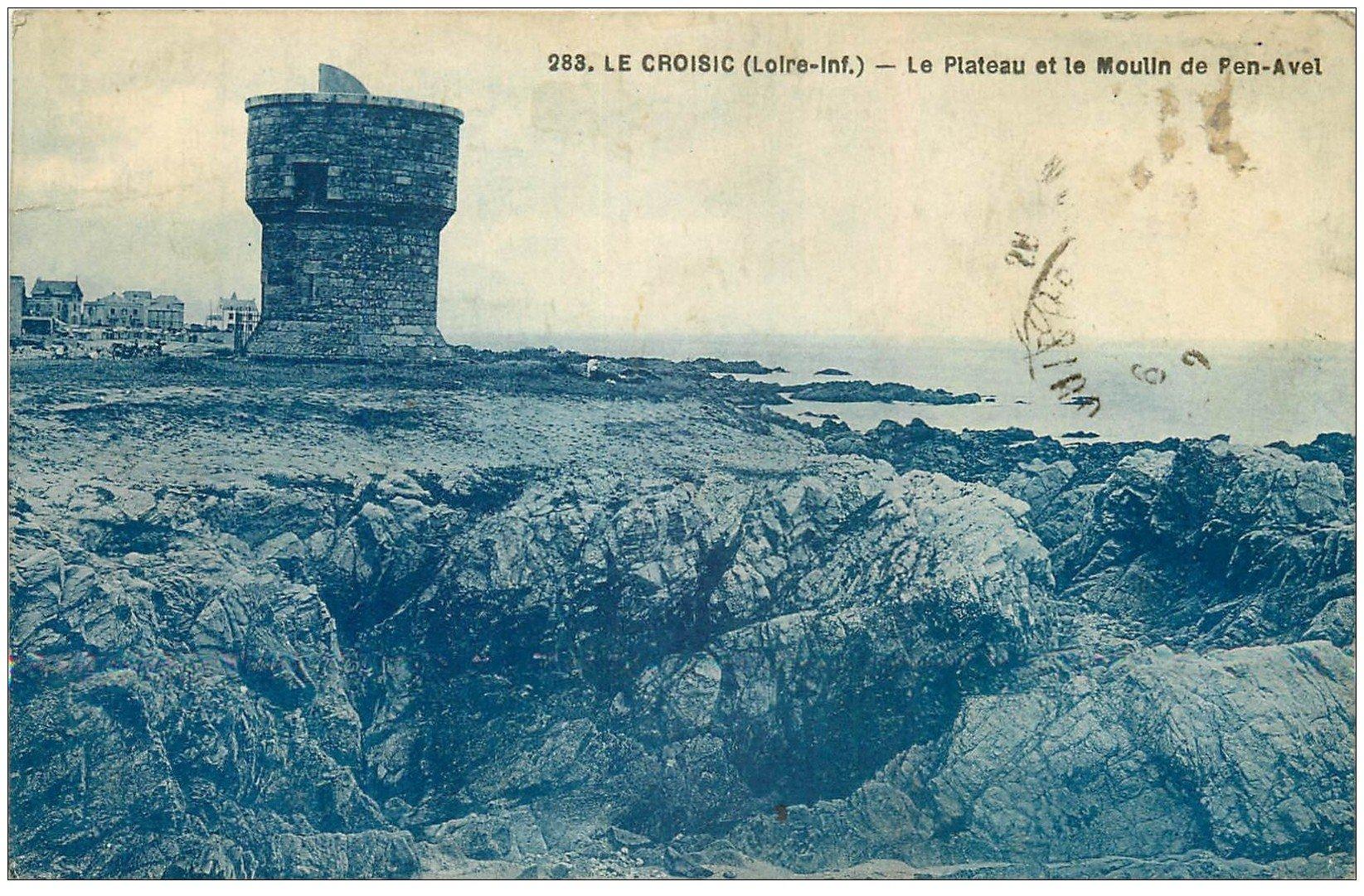 carte postale ancienne 44 LE CROISIC. Plateau et Moulin de Pont-Avel