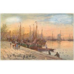 carte postale ancienne 44 LE POULIGUEN. Le Port 1910. Collection Chocolat de Royat
