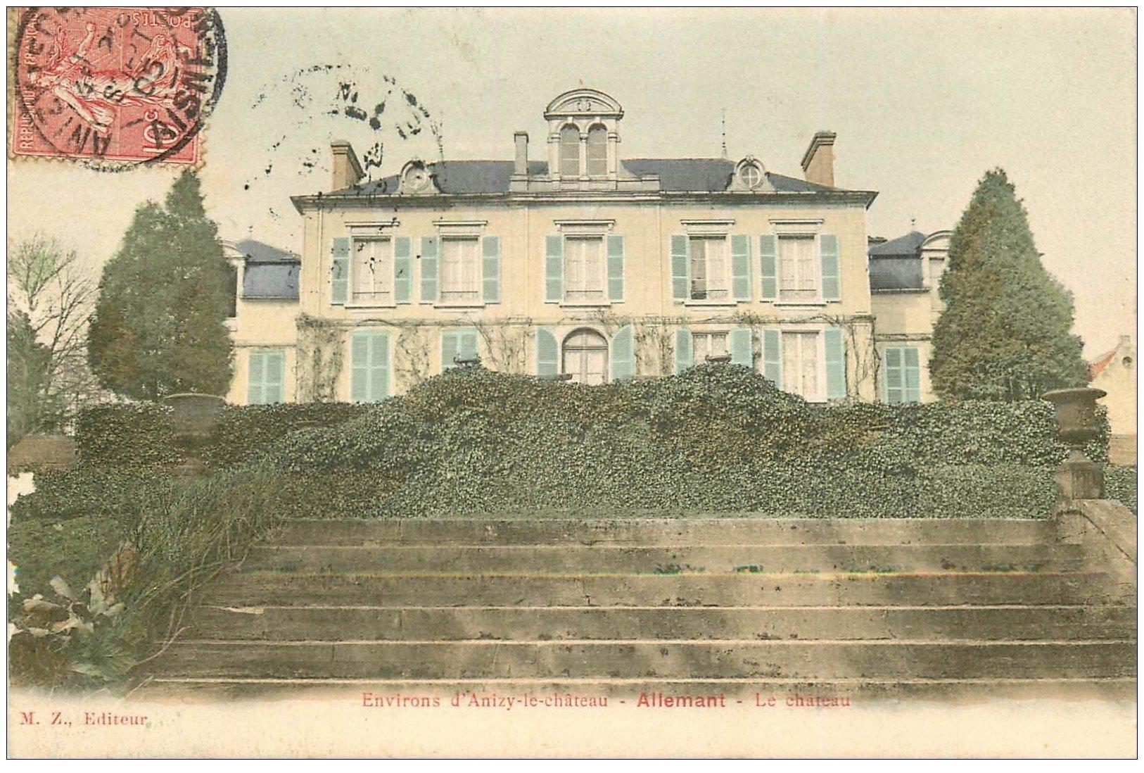 carte postale ancienne 02 ALLEMANT. Le Château 1905 en couleur