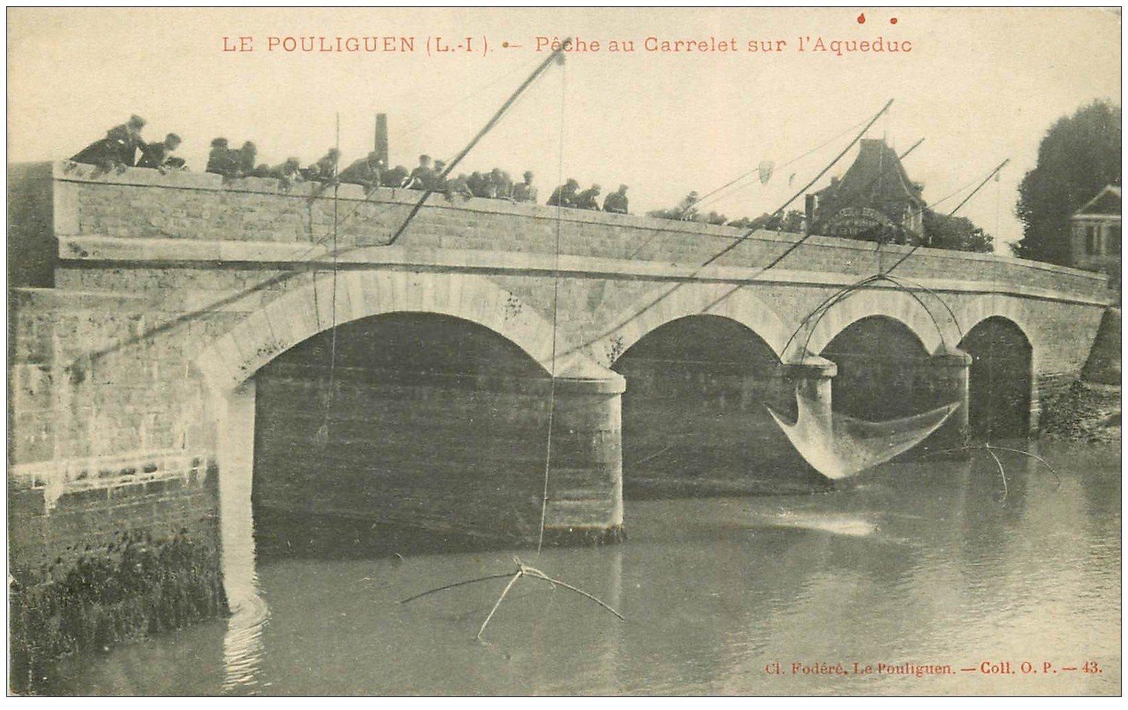 carte postale ancienne 44 LE POULIGUEN. Pêche au Carrelet sur l'Aqueduc