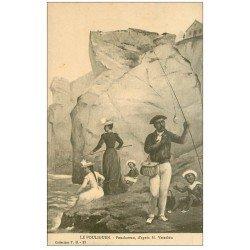 carte postale ancienne 44 LE POULIGUEN. Penchâteau par Vasselon. Pêcheur et Pêcheuses