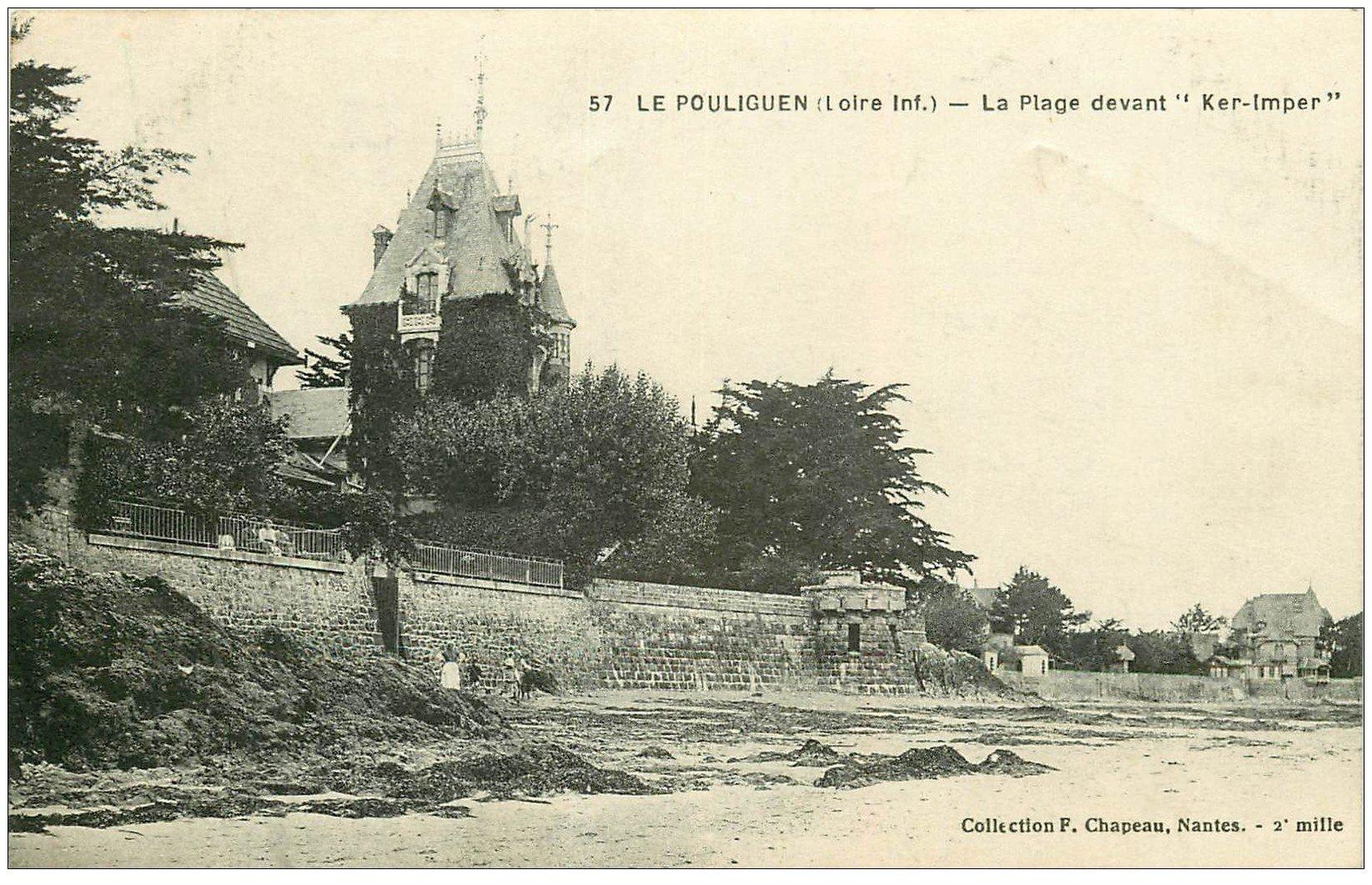 """carte postale ancienne 44 LE POULIGUEN. Plage devant """""""" Ker Imper """""""" 1923"""