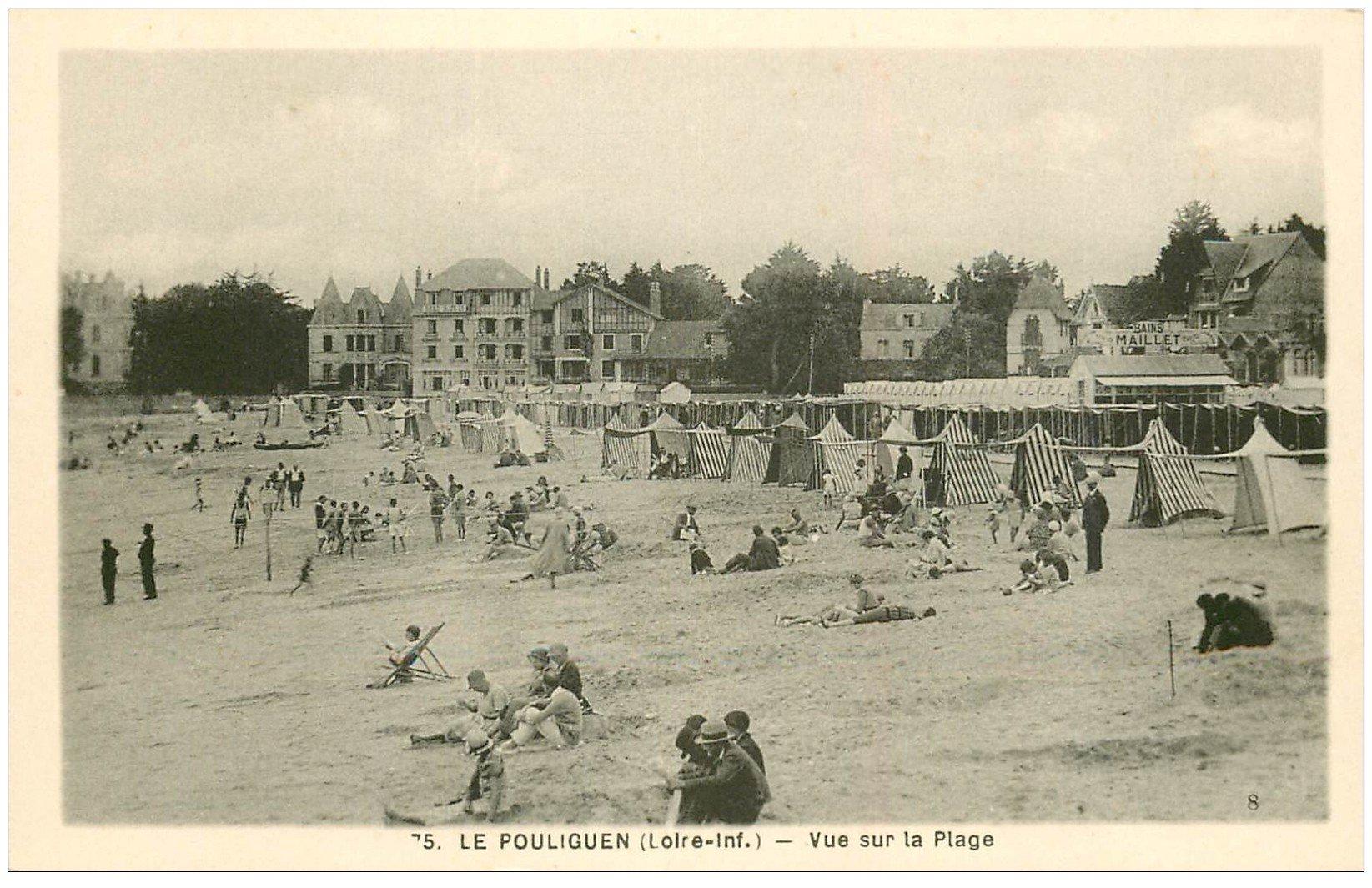 carte postale ancienne 44 LE POULIGUEN. Vue Plage n°75