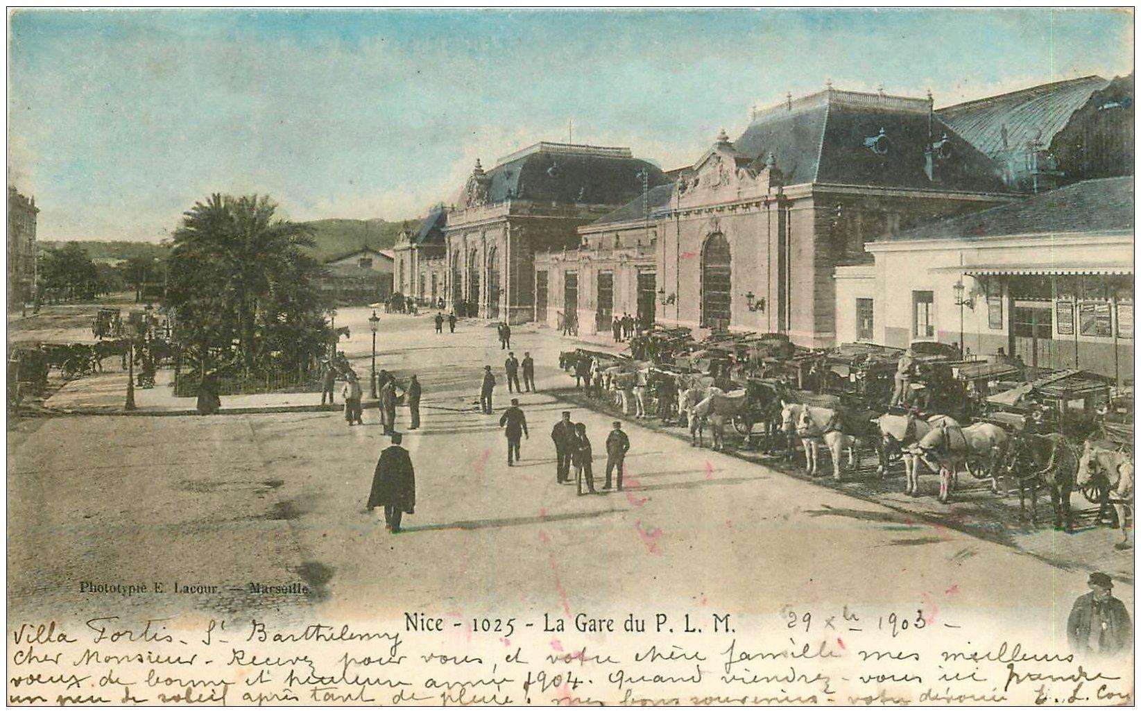 carte postale ancienne 06 NICE. Gare du P.LM 1903