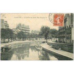 carte postale ancienne 44 NANTES. Erdre Quai des Tanneurs 1911