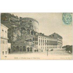 carte postale ancienne 06 NICE. Hôtel Suisse et Escalier Lesage 1904