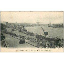 carte postale ancienne 44 NANTES. Le Port pris de la Rue de l'Hermitage. Wagons et Grues