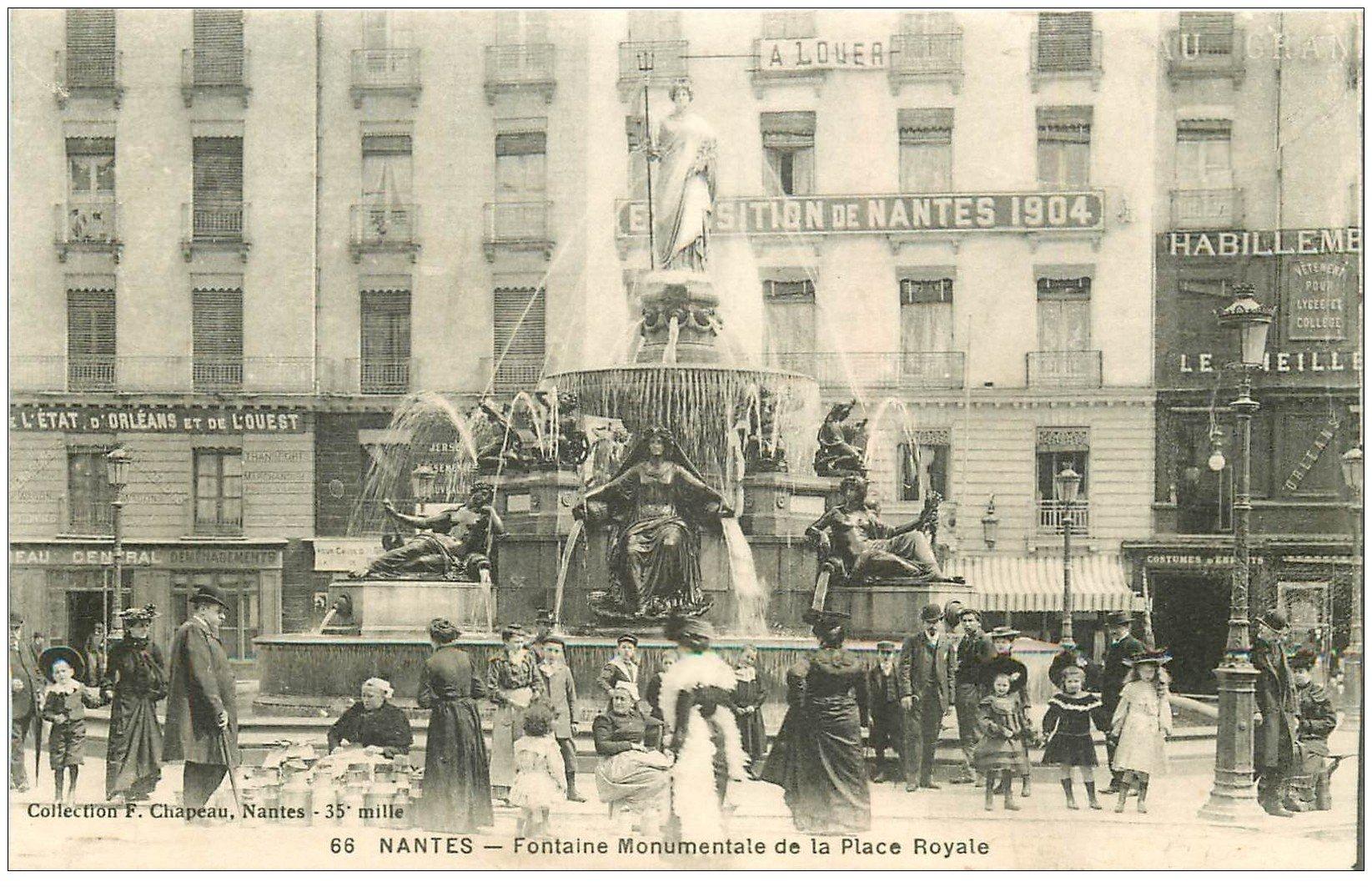 44 nantes marchandes de lait fontaine place royale vers 1904. Black Bedroom Furniture Sets. Home Design Ideas