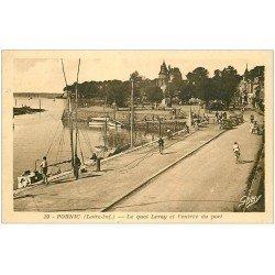 carte postale ancienne 44 PORNIC. Port Quai Leray 1954. timbre manquant verso