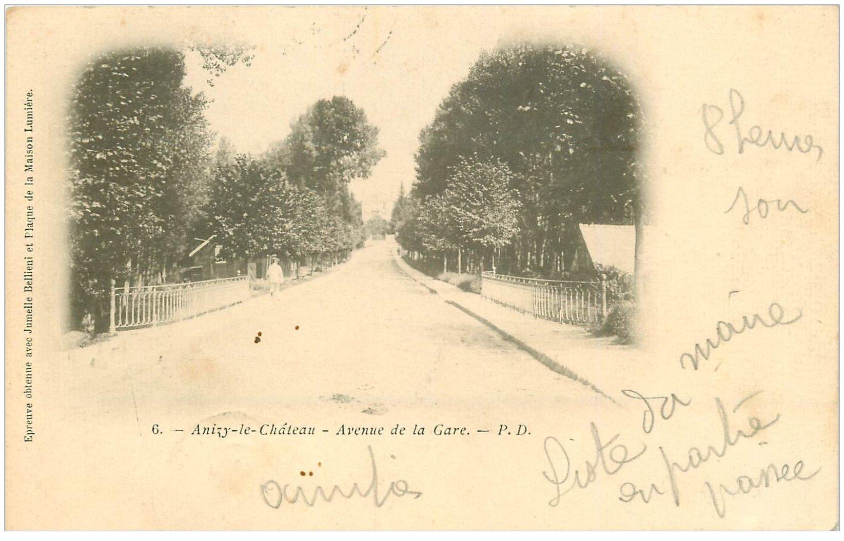 carte postale ancienne 02 ANIZY-LE-CHATEAU. Avenue de la Gare 1904