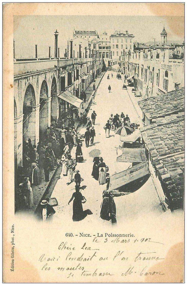 carte postale ancienne 06 NICE. La Poissonnerie 1902