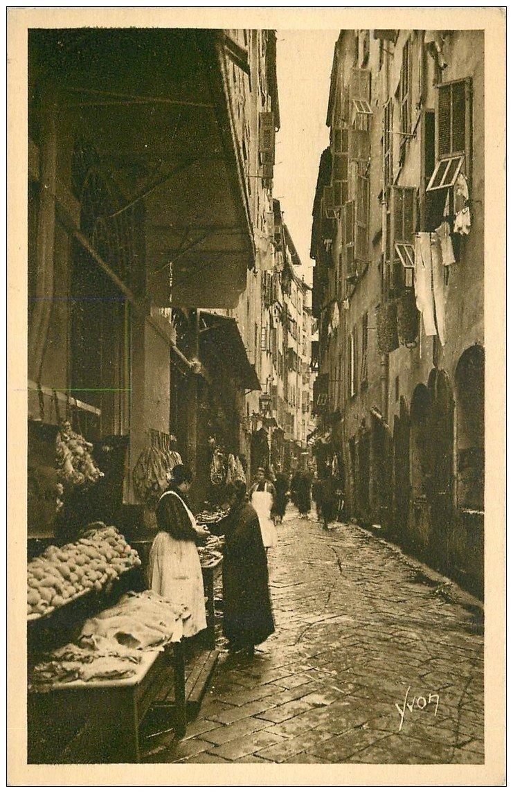carte postale ancienne 06 NICE. La Rue des Bouchers 1922