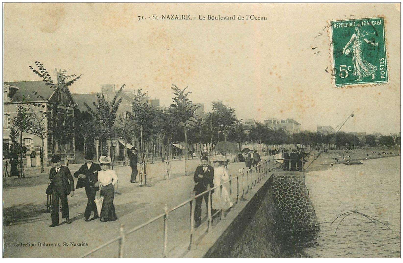 carte postale ancienne 44 SAINT-NAZAIRE. Boulevard de l'Océan
