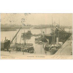 carte postale ancienne 44 SAINT-NAZAIRE. Navires et Grues dans Bassins 1904