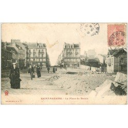 carte postale ancienne 44 SAINT-NAZAIRE. Place du Bassin 1906