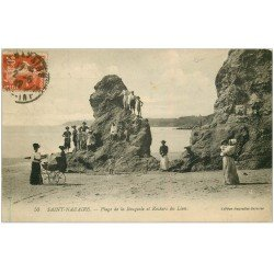 carte postale ancienne 44 SAINT-NAZAIRE. Plage Rougeole et Rochers du Lion 1917